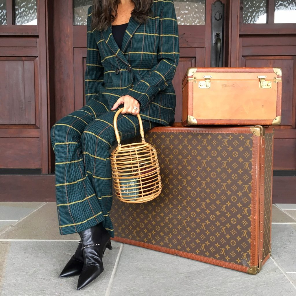 Anine Bing Green Plaid Suit