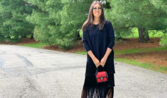 Club Monaco black fringe skirt